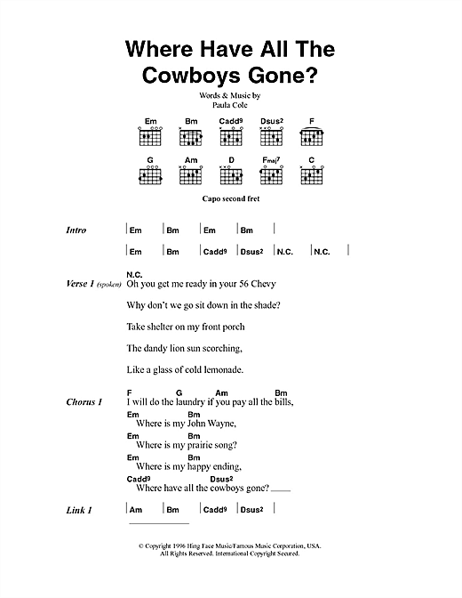 Where Have All The Cowboys Gone? (Guitar Chords/Lyrics)