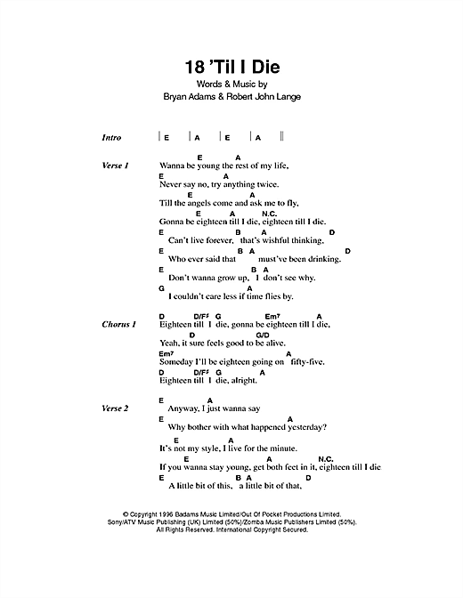 18 'Til I Die Sheet Music