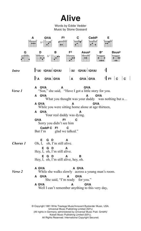 Alive (Guitar Chords/Lyrics)