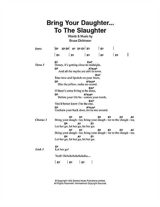 Bring Your Daughter To The Slaughter Sheet Music