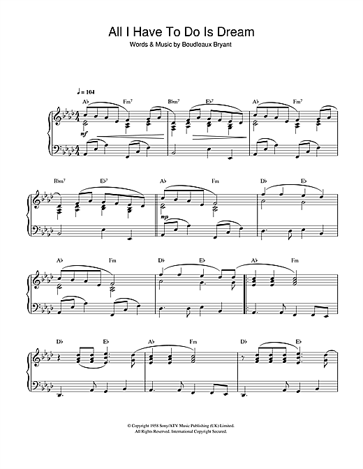 Partition piano All I Have To Do Is Dream de The Everly Brothers - Piano Solo
