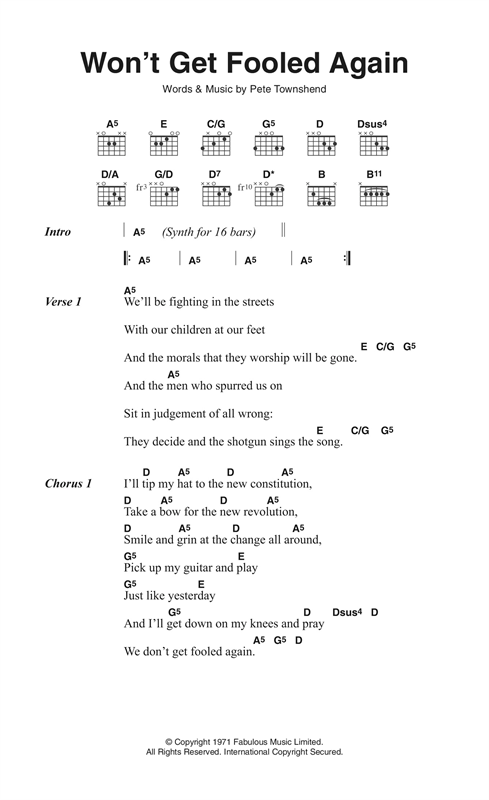 Won't Get Fooled Again (Guitar Chords/Lyrics)