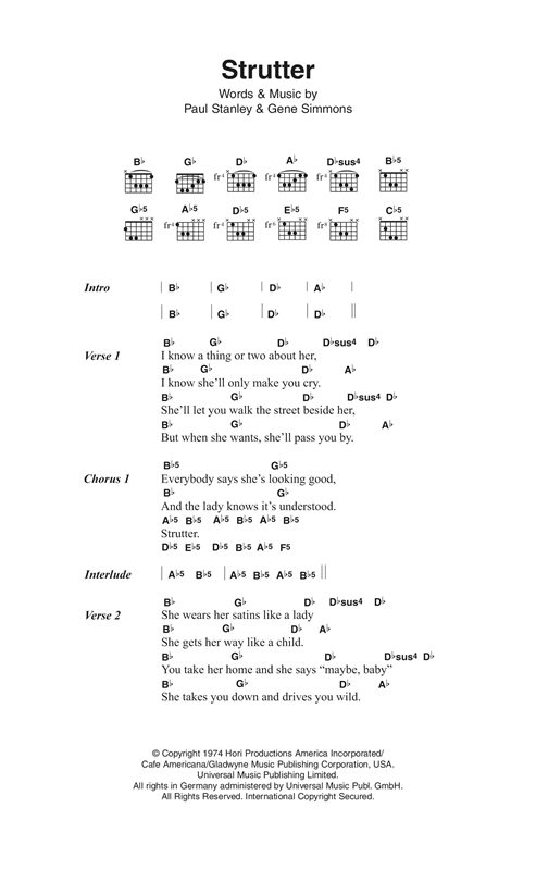Strutter (Guitar Chords/Lyrics)