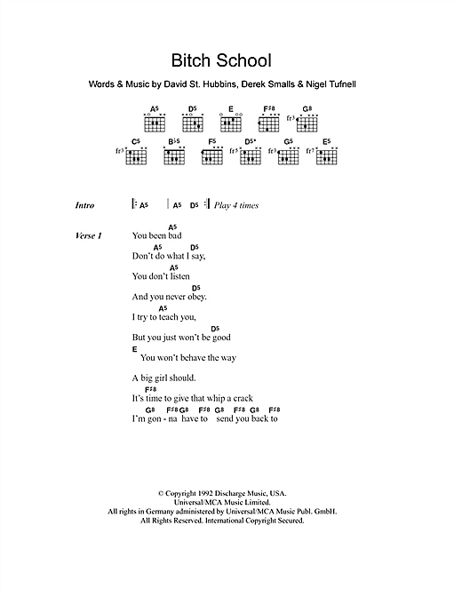 Bitch School (Guitar Chords/Lyrics)