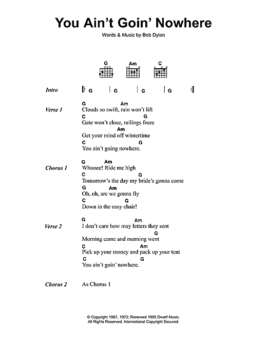 You Ain't Goin' Nowhere (Guitar Chords/Lyrics)