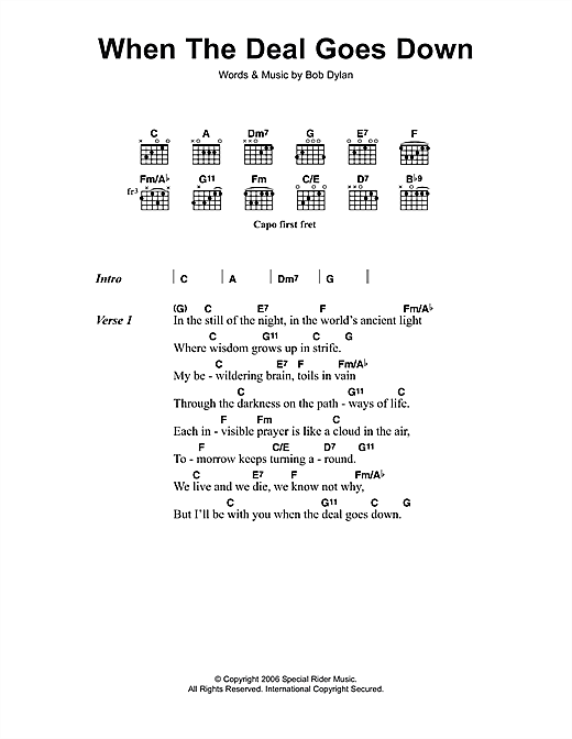 When The Deal Goes Down (Guitar Chords/Lyrics)