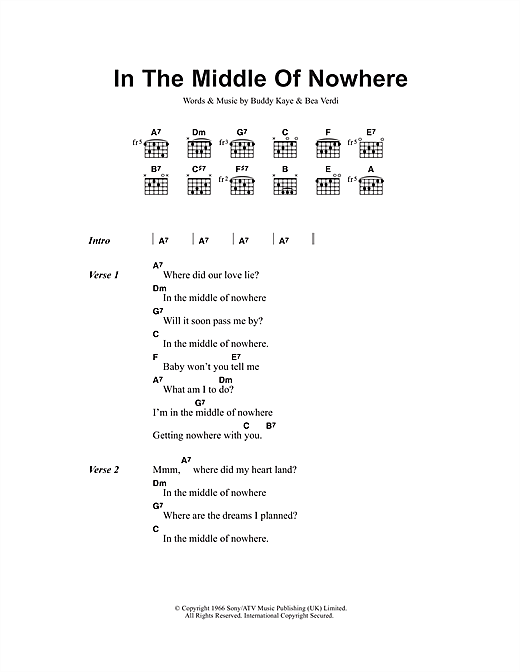 In The Middle Of Nowhere Sheet Music