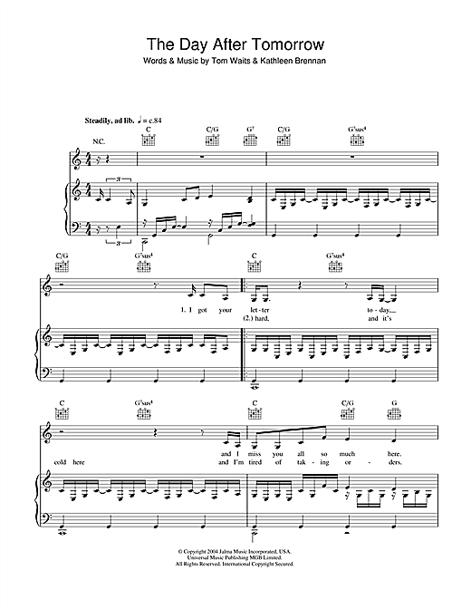 Day After Tomorrow Sheet Music