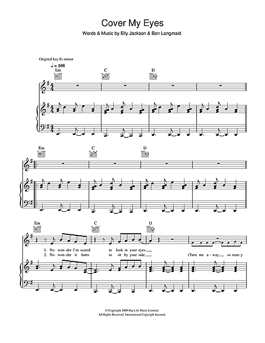 Cover My Eyes Sheet Music