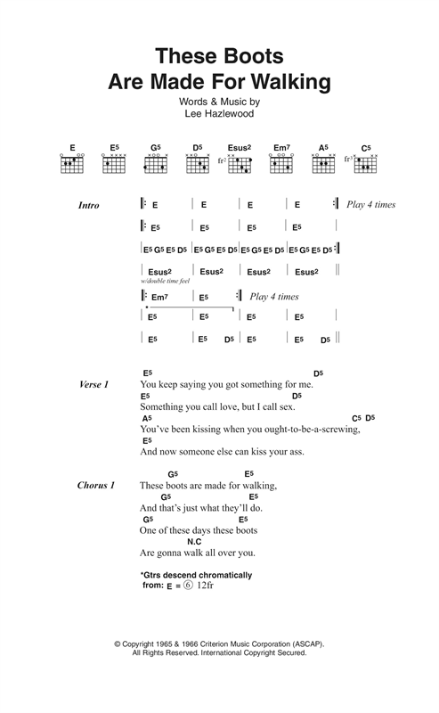 These Boots Are Made For Walking (Guitar Chords/Lyrics)
