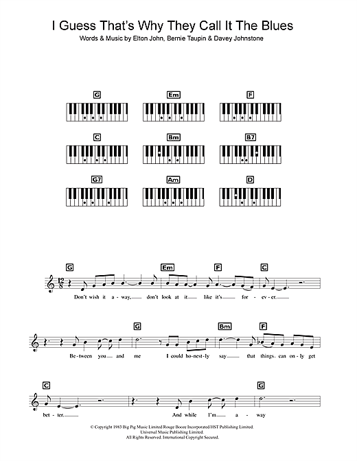Partition piano I Guess That's Why They Call It The Blues de Elton John - Synthétiseur