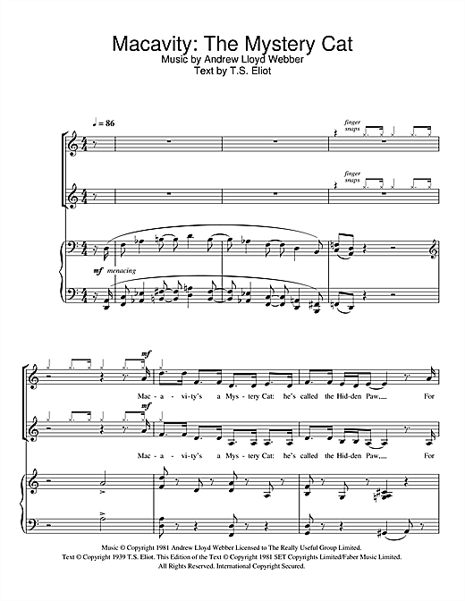 Macavity: The Mystery Cat (from Cats) Sheet Music