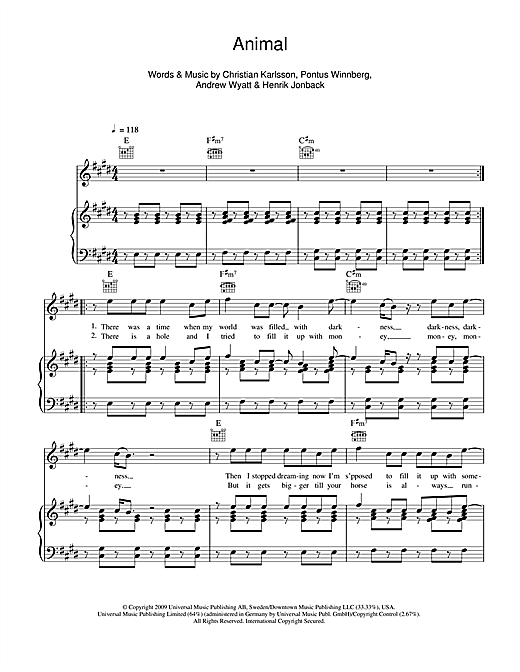 Animal Sheet Music
