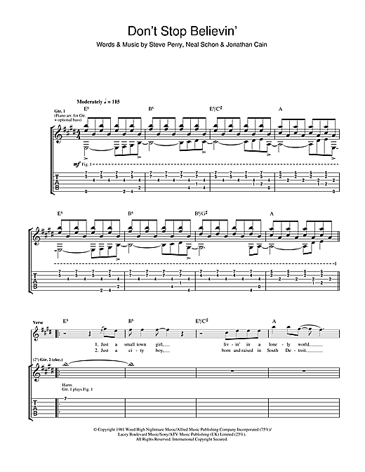 Tablature guitare Don't Stop Believin' de Journey - Tablature Guitare