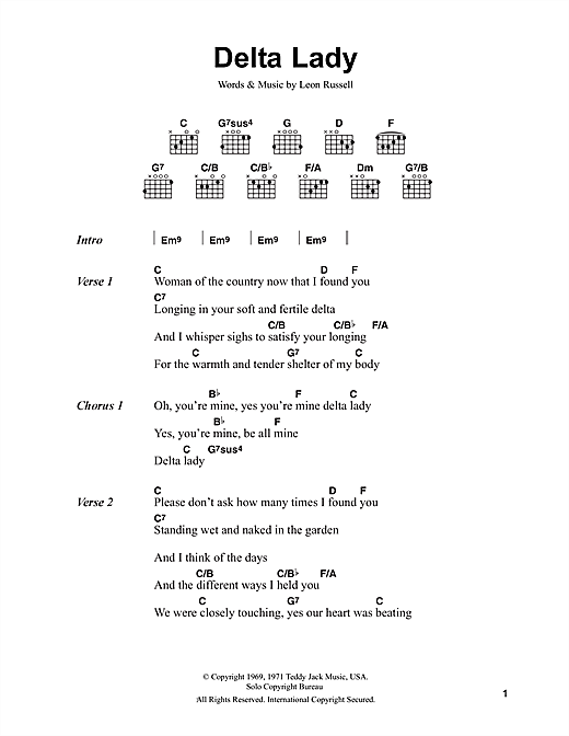Delta Lady (Guitar Chords/Lyrics)