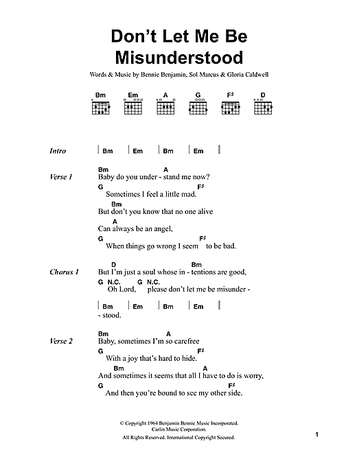 Don't Let Me Be Misunderstood (Guitar Chords/Lyrics)