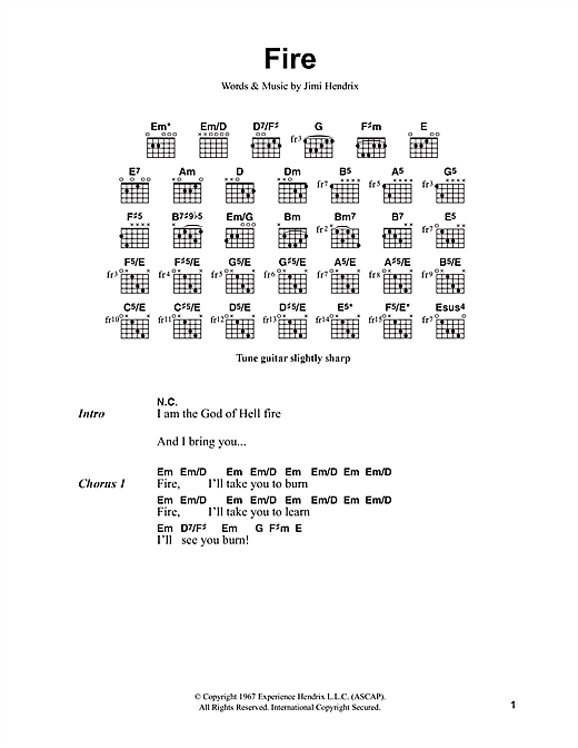 Fire (Guitar Chords/Lyrics)