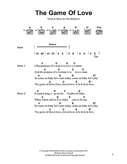 The Game Of Love (Guitar Chords/Lyrics)