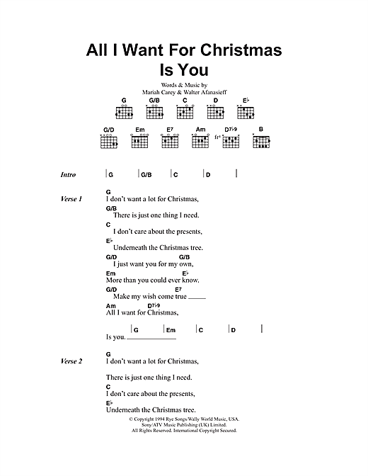 Mariah Carey All I Want For Christmas Is You Lyrics.All I Want For Christmas Is You Guitar Chords Lyrics Sheet Music