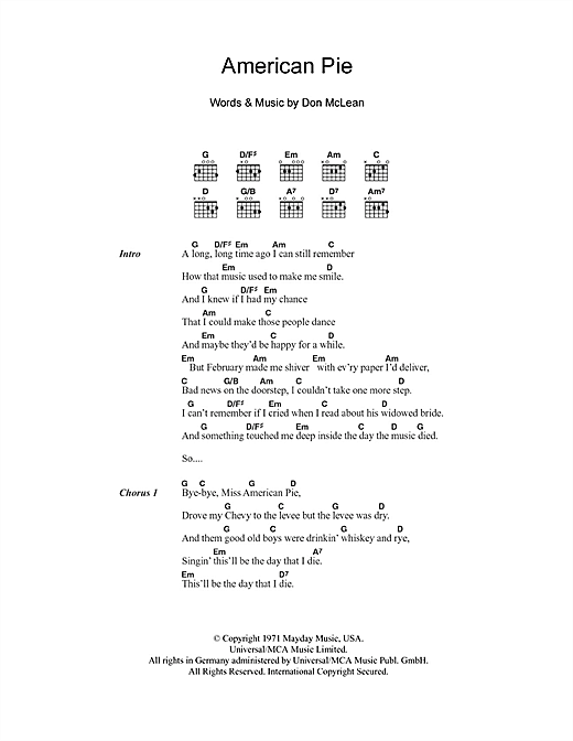 American Pie sheet music by Don McLean (Lyrics & Chords – 100812)