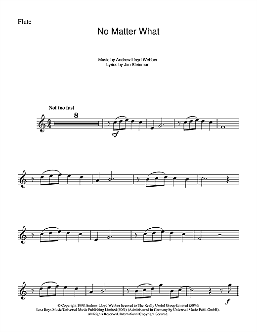 Partition flûte No Matter What (from Whistle Down The Wind) de Andrew Lloyd Webber - Flute traversiere