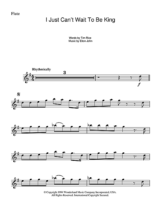 I Just Can't Wait To Be King (from The Lion King) Sheet Music