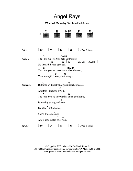 Angel Rays (Guitar Chords/Lyrics)