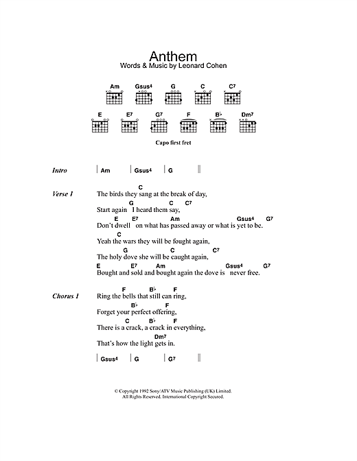 Anthem Sheet Music