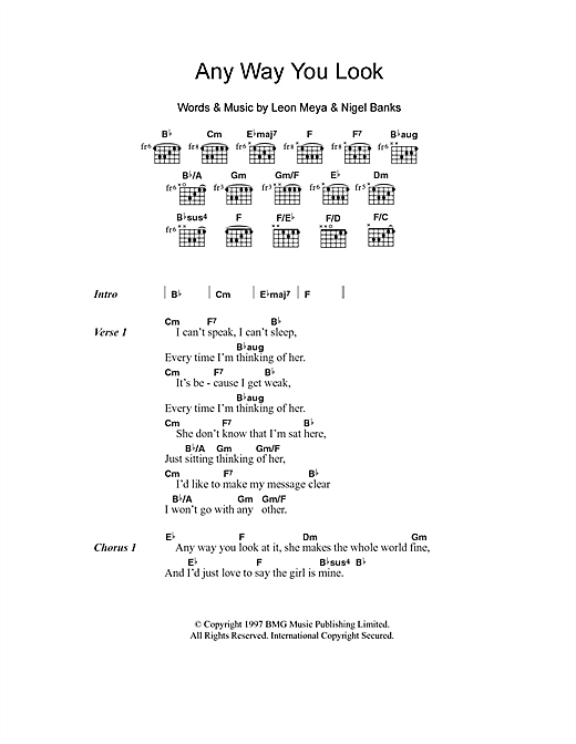 Any Way You Look (Guitar Chords/Lyrics)
