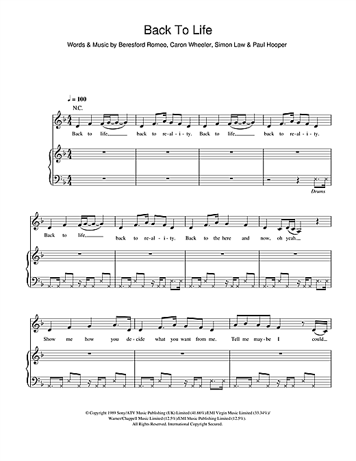 Back To Life (However Do You Want Me) Sheet Music