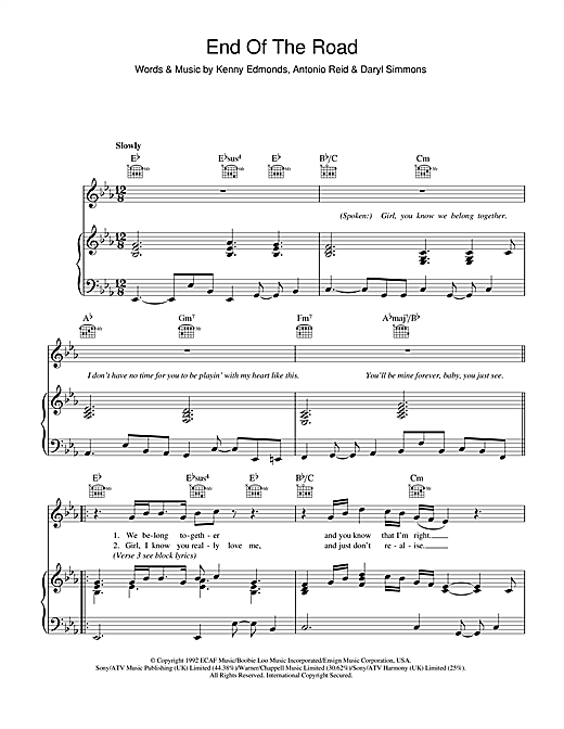 End Of The Road Sheet Music