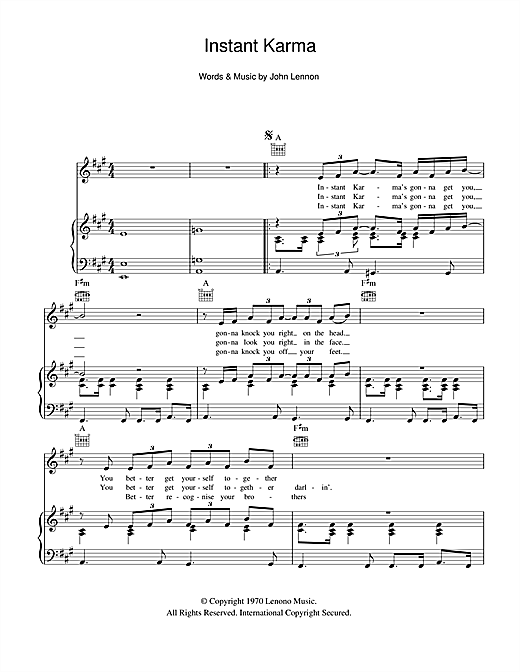 Instant Karma (Piano, Vocal & Guitar (Right-Hand Melody))