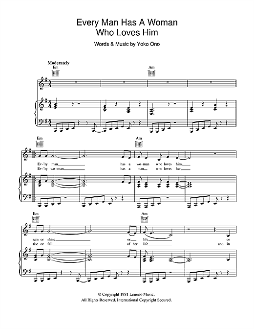 Every Man Has A Woman Who Loves Him Sheet Music