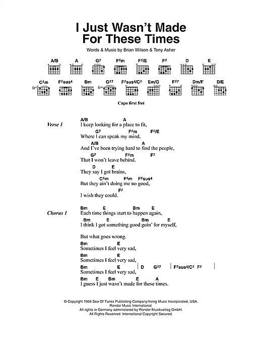 I Just Wasn't Made For These Times (Guitar Chords/Lyrics)