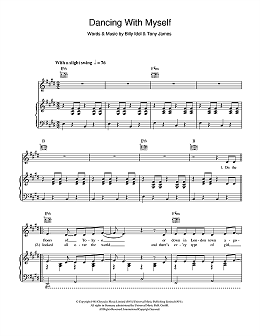Dancing With Myself (Piano, Vocal & Guitar (Right-Hand Melody))