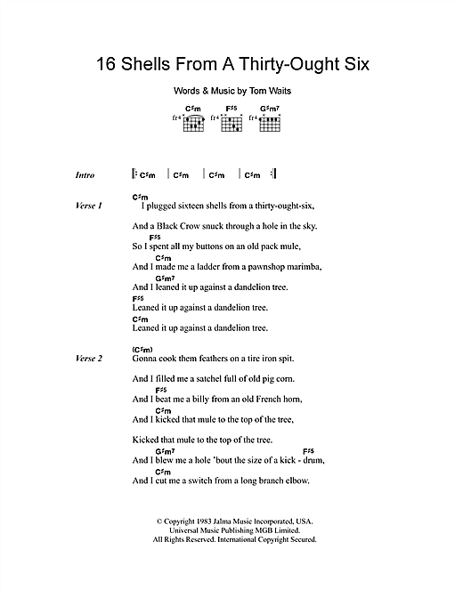 16 Shells From A Thirty-Ought Six (Guitar Chords/Lyrics)