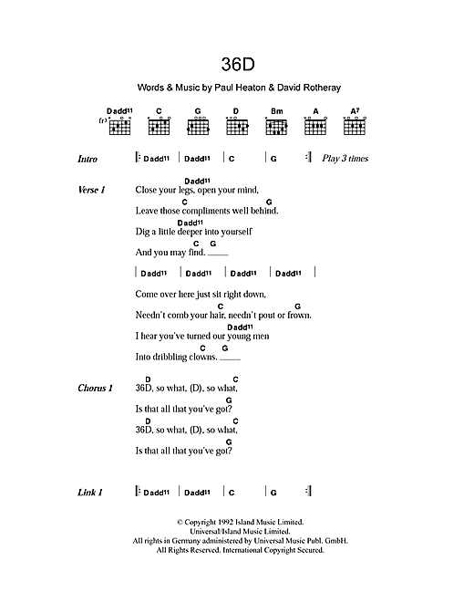 36D (Guitar Chords/Lyrics)