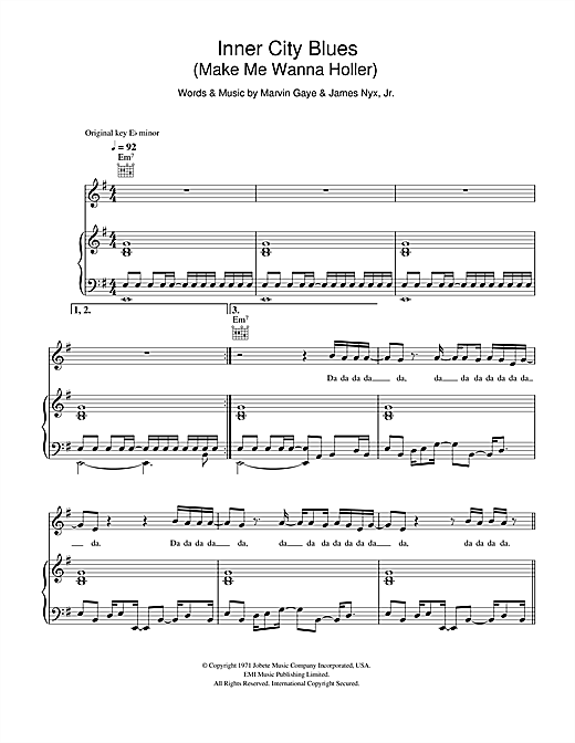 Inner City Blues (Make Me Wanna Holler) Sheet Music