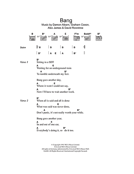 Bang (Guitar Chords/Lyrics)