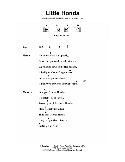 Little Honda (Guitar Chords/Lyrics)
