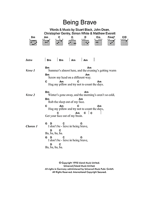 Being Brave Sheet Music