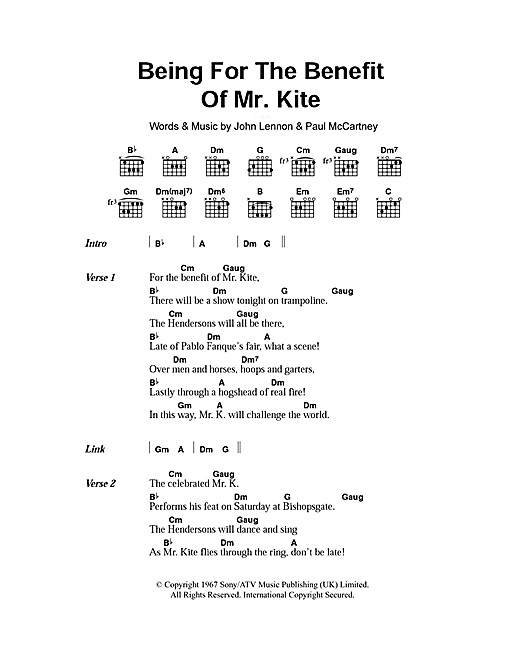 Being For The Benefit Of Mr. Kite (Guitar Chords/Lyrics)