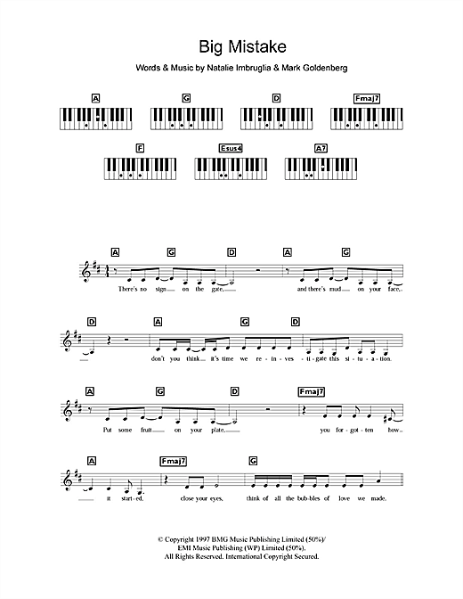 Big Mistake Sheet Music