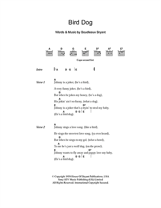 Bird Dog Sheet Music