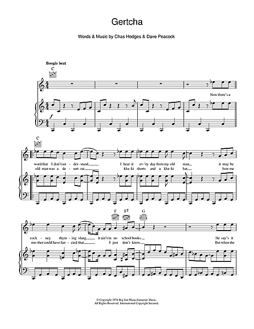 Gertcha Sheet Music