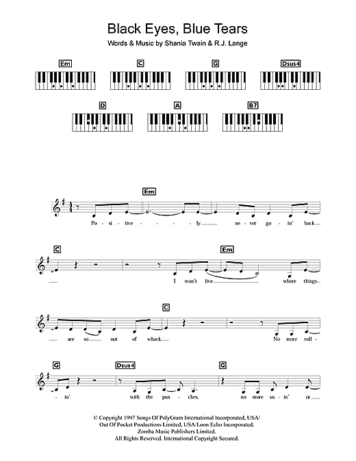 Black Eyes, Blue Tears Sheet Music