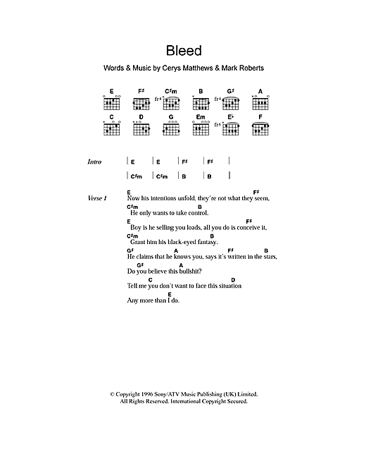 Bleed Sheet Music