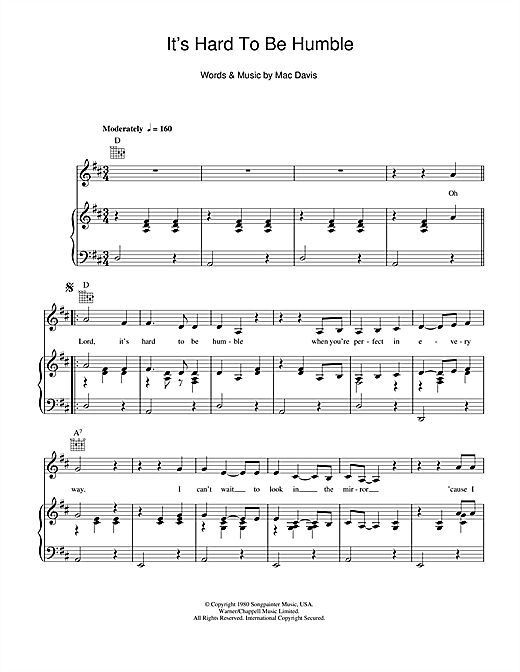 It's Hard To Be Humble Sheet Music