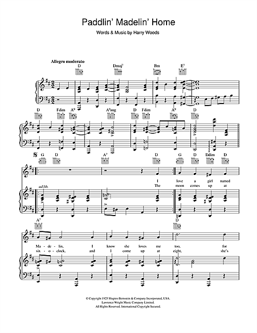 Paddlin' Madelin' Home Sheet Music