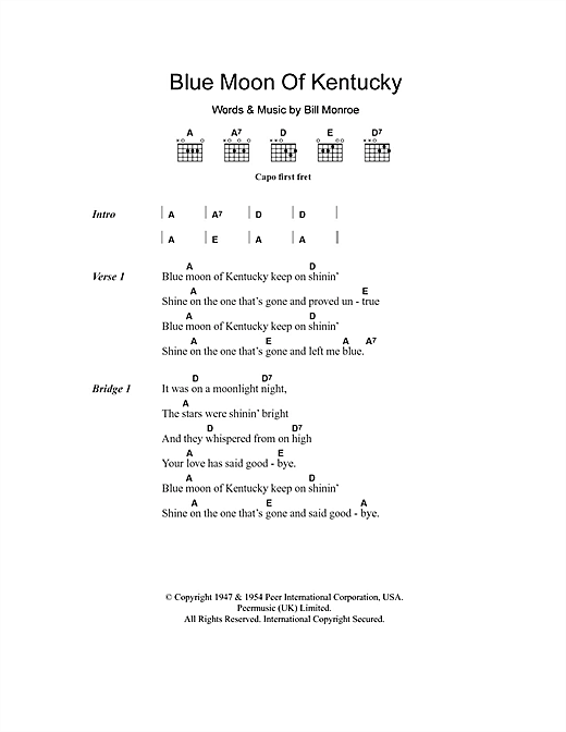 Blue Moon Of Kentucky (Guitar Chords/Lyrics)